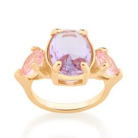 512874 anel com 2 cristais gotas rosa e 1 cristal oval no centro lilas colecao cores da vida marca rommanel loja revendedora brilho folheados