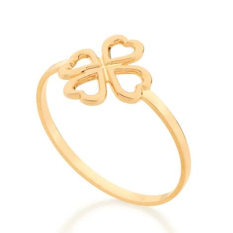 512875 anel aro fino centro contendo um trevo vazado colecao fe na vida rommanel loja revendedora brilho folheados 1