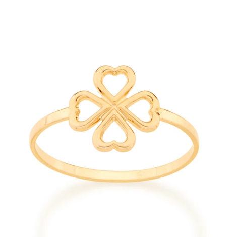 512875 anel aro fino centro contendo um trevo vazado colecao fe na vida rommanel loja revendedora brilho folheados