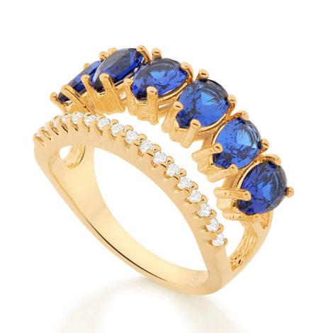 512882 anel aro duplo aro com zirconias e aro com 6 cristais gotas azuis colecao cores da vida marca rommanel loja revendedora brilho folheados 2