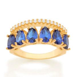 512882 anel aro duplo aro com zirconias e aro com 6 cristais gotas azuis colecao cores da vida marca rommanel loja revendedora brilho folheados