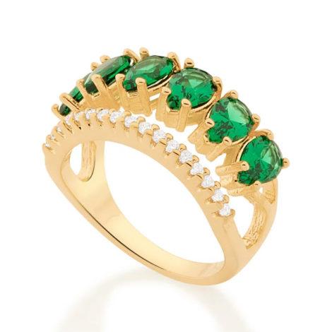 512883 anel aro duplo aro com zirconias e aro com 6 cristais gotas verdes colecao cores da vida marca rommanel loja revendedora brilho folheados 2