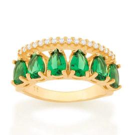 512883 anel aro duplo aro com zirconias e aro com 6 cristais gotas verdes colecao cores da vida marca rommanel loja revendedora brilho folheados