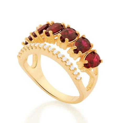 512884 anel aro duplo aro com zirconias e aro com 6 cristais gotas vermelhas colecao cores da vida marca rommanel loja revendedora brilho folheados 2