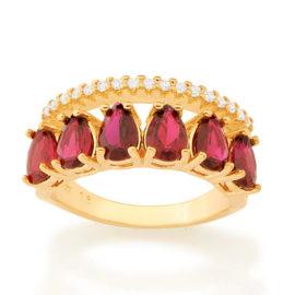 512884 anel aro duplo aro com zirconias e aro com 6 cristais gotas vermelhas colecao cores da vida marca rommanel loja revendedora brilho folheados