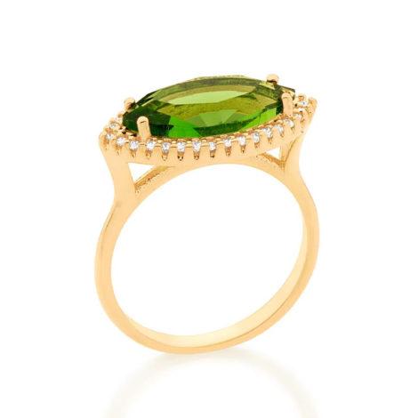 512888 anel maxi cristal oval na horizonal verde com zirconias brancas colecao fe na vida marca rommanel loja brilho folheados 1