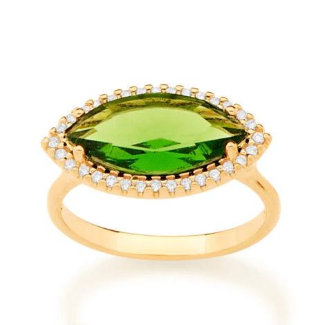 512888 anel maxi cristal oval na horizonal verde com zirconias brancas colecao fe na vida marca rommanel loja brilho folheados