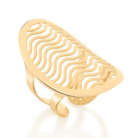 512894 anel ajustavel oval detalhes de ondas vazado colecao cores da vida marca rommanel loja revendedora brilho folheados
