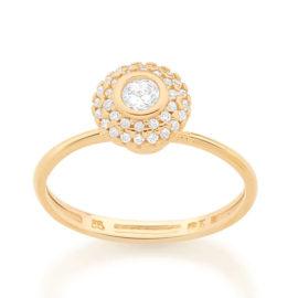512896 anel solitario cravejado com 34 zirconias brancas brilhantes colecao fe na vida marca rommanel loja revendedora brilho folheados