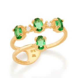 512897 anel aro duplo estilizado com 4 cristais ovais verde colecao fe na vida rommanel loja revendedora brilho folheados 1
