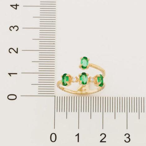 512897 anel aro duplo estilizado com 4 cristais ovais verde colecao fe na vida rommanel loja revendedora brilho folheados 2