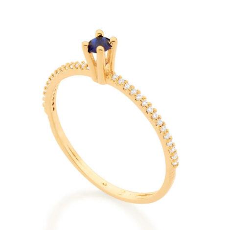 512902 anel solitario aro cravejado de zirconias com zirconia azul colecao cores da vida marca rommanel loja revendedora brilho folheados