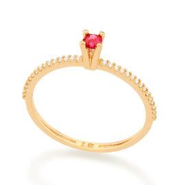 512902 anel solitario aro cravejado de zirconias com zirconia rosa colecao cores da vida marca rommanel loja revendedora brilho folheados