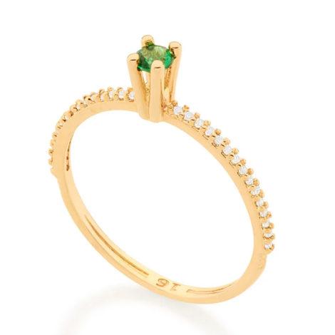 512902 anel solitario aro cravejado de zirconias com zirconia verde colecao cores da vida marca rommanel loja revendedora brilho folheados