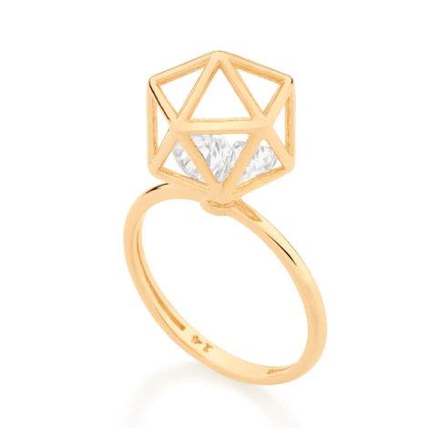 512904 anel dourado aro fino com peca geometrica com 2 zirconias brancas brilhantes colecao cores da vida rommanel loja brilho folheados 4