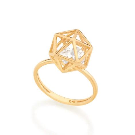 512904 anel dourado aro fino com peca geometrica com 2 zirconias brancas brilhantes colecao cores da vida rommanel loja brilho folheados