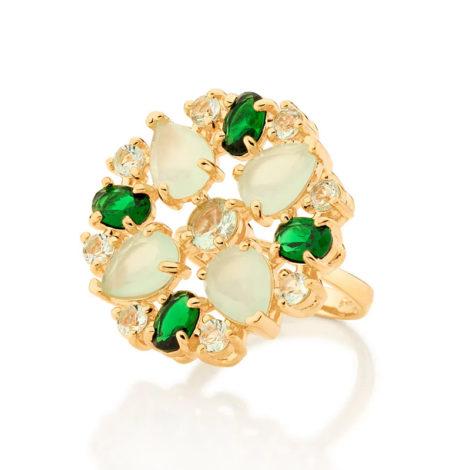 512905 maxi anel cristais tons de verde colecao fe na vida marca rommanel loja revendedora brilho folheados 1