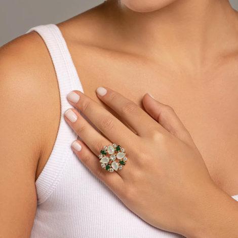 512905 maxi anel cristais tons de verde colecao fe na vida marca rommanel loja revendedora brilho folheados 3