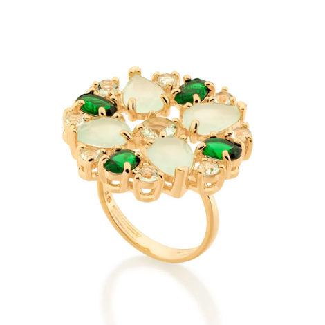 512905 maxi anel cristais tons de verde colecao fe na vida marca rommanel loja revendedora brilho folheados