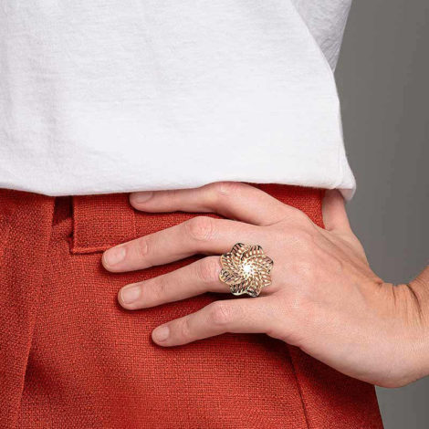 512917 maxi anel formado por flor estilizada colecao origens rommanel loja brilho folheados 2