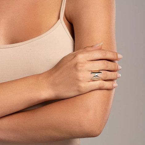 512918 anel aro largo e liso letra K dourado marca rommanel loja revendedora brilho folheados foto modelo