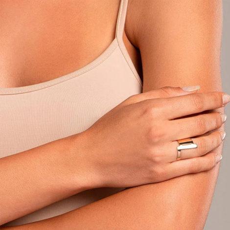 512918 anel aro largo e liso letra L dourado marca rommanel loja revendedora brilho folheados foto modelo