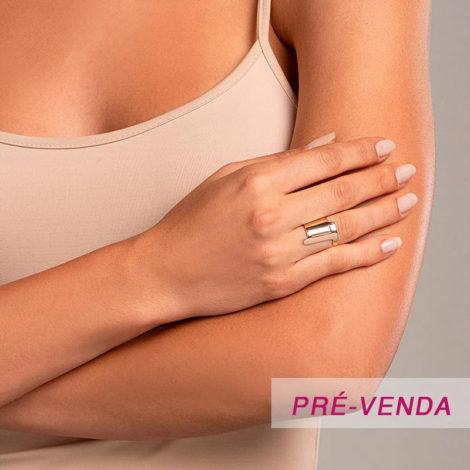 512918 anel aro largo e liso letra T dourado marca rommanel loja revendedora brilho folheados foto modelo