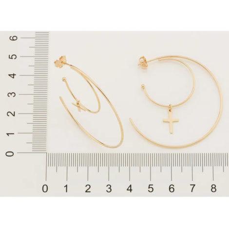 526482 brinco argola dourada dupla com pingente cruz folheado rodio cores da vida rommanel loja brilho folheados 4