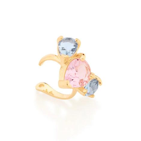 526486 brinco piercing de pressao com 3 cristais gotas azul e rosa colecao cores da vida marca rommanel loja revendedora brilho folheados