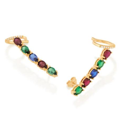 526497 brinco ear cuff com zirconias gotas coloridas colecao cores da vida marca rommanel loja revendedora brilho folheados
