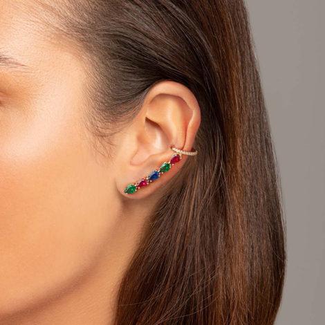 526497 brinco ear cuff com zirconias gotas coloridas colecao cores da vida marca rommanel loja revendedora brilho folheados foto modelo