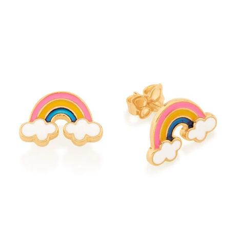 526500 brinco infantil arco iris resina colorida colecao cores da vida marca rommanel loja revendedora brilho folheados 1