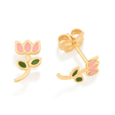 526501 brinco infantil flor tulipa resina colorida colecao cores da vida marca rommanel loja revendedora brilho folheados 2