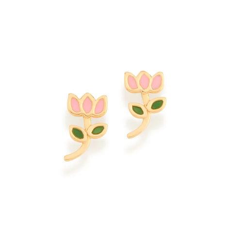 526501 brinco infantil flor tulipa resina colorida colecao cores da vida rommanel loja brilho folheados