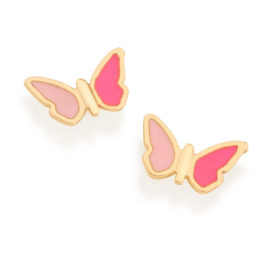526502 brinco infantil borboleta resina rosa tarraxa tradiconal colecao cores da vida rommanel loja brilho folheados 1