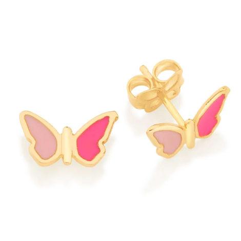 526502 brinco infantil borboleta resina rosa tarraxa tradiconal colecao cores da vida rommanel loja brilho folheados 5