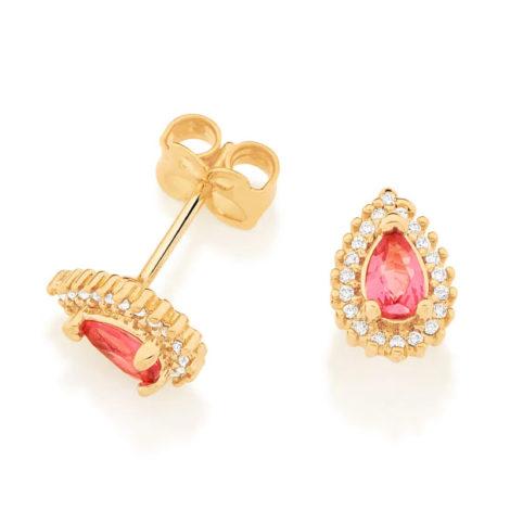 526512 brinco cristal gota rosa com zirconias colecao cores da vida marca rommanel loja revendedora brilho folheados 2