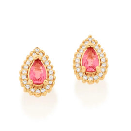 526512 brinco cristal gota rosa com zirconias colecao cores da vida marca rommanel loja revendedora brilho folheados