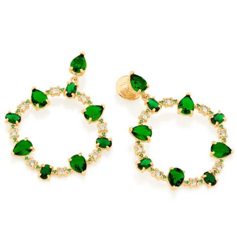 526513 maxi brinco ovais com cristais verdes colecao fe na vida rommanel loja revendedora brilho folheados 1