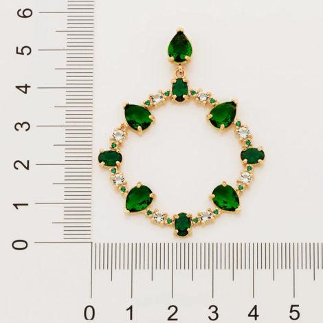 526513 maxi brinco ovais com cristais verdes colecao fe na vida rommanel loja revendedora brilho folheados 2