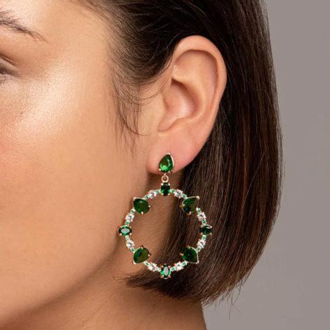526513 maxi brinco ovais com cristais verdes colecao fe na vida rommanel loja revendedora brilho folheados 3