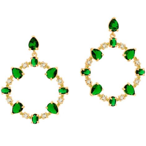 526513 maxi brinco ovais com cristais verdes colecao fe na vida rommanel loja revendedora brilho folheados
