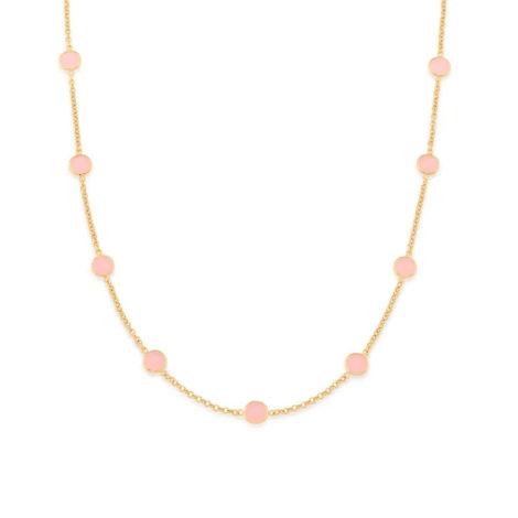 532062 gargantilha com cristais rosa pendurados colecao cores da vida marca rommanel loja revendedora brilho folheados