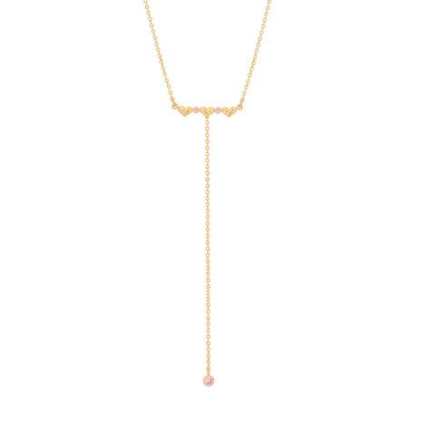 532070 gargantilha gravata 3 coracoes e zirconias rosa colecao cores da vida marca rommanel loja revendedora brilho folheados