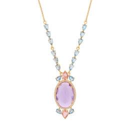 532071 gargantilha cristais gotas rosa e azuis com cristal lilas oval grande no centro colecao cores da vida marca rommanel loja revendedora brilho folheados