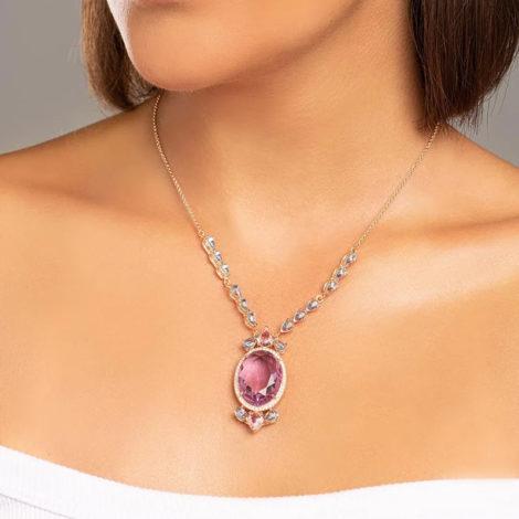 532071 gargantilha cristais gotas rosa e azuis com cristal lilas oval grande no centro colecao cores da vida marca rommanel loja revendedora brilho folheados foto modelo