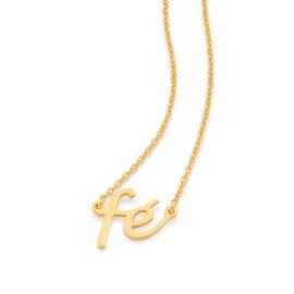 532076 gargantilha dourada elos intercalados com pingente fe colecao cores da vida rommanel loja brilho folheados