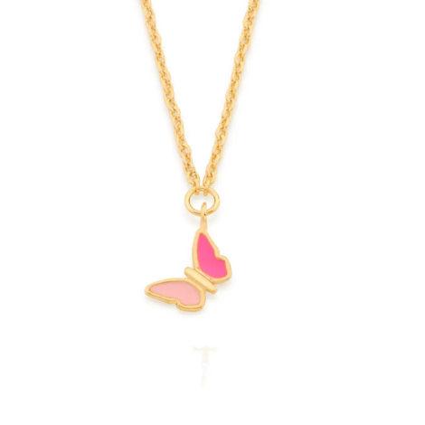 532081 gargantilha infantil pingente borboleta resina rosa colecao cores da vida marca rommanel loja revendedora brilho folheados