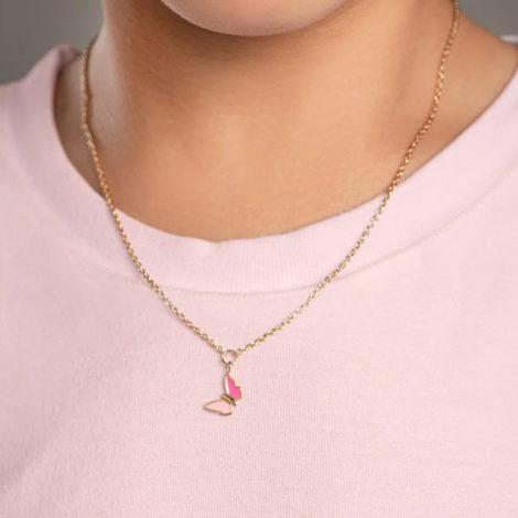 532081 gargantilha infantil pingente borboleta resina rosa colecao cores da vida marca rommanel loja revendedora brilho folheados foto modelo