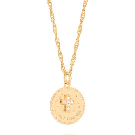 542256 pingente medalha minha primeira comunhao cruz cravejada com zirconia colecao cores da vida rommanel loja brilho folheados 1